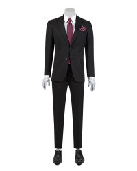 DS DAMAT - D'S Damat Black Travel Suit | Regular Fit