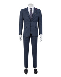 DS DAMAT - D'S Damat Patterned Navy Blue Suit | Slim Fit
