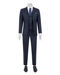 DS DAMAT - D'S Damat Combined Navy Blue Suit | Slim Fit