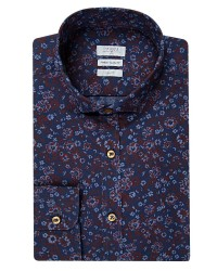TWN - TWN Navy Blue Printed Shirt | Slim Fit