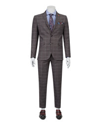 TWN - Twn Plaid Burgundy Suit | Slim Fit
