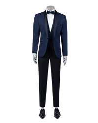 TWN - TWN Tuxedo Suit with Vest | Super Slim Fit