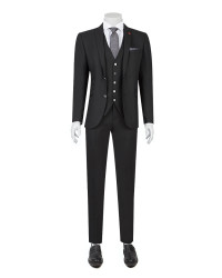 TWN - Twn Black Suit with Vest | Slim Fit